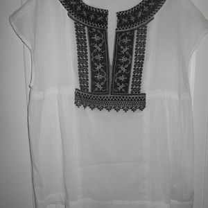 nwot MADEWELL EMBROIDERED NECK/WHITE BLOUSE TOP
